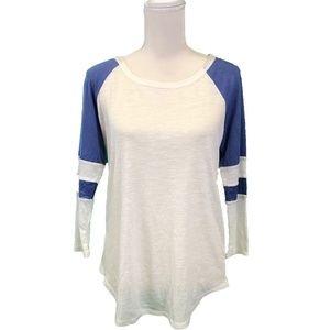 American Rag White/Blue 3/4 sleeve top-L